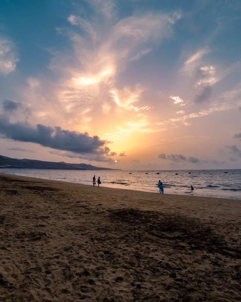 Warm colourful sunset at Las Canteras
