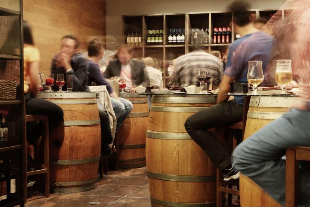 Cozy interior of a tapas bar, barrel tables. The Best Restaurants in Las Palmas. Experience the best food in Las Palmas de Gran Canaria. Article by https://www.kissmybackpack.com