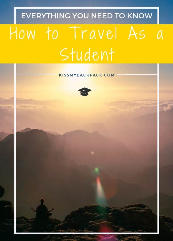 How to travel as a student. Everything you need to know at www.kissmybackpack.com. Picture of me as a student, meditating on the peak of Roque Nublo in the Canary Islands, Spain.