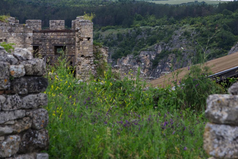 Battle tower and green cliffs