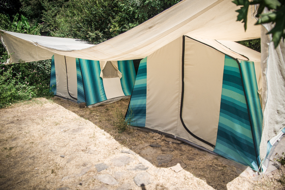 Sultan Camp's tent accommodation - Sea blue and white apartment tents between the bushes.