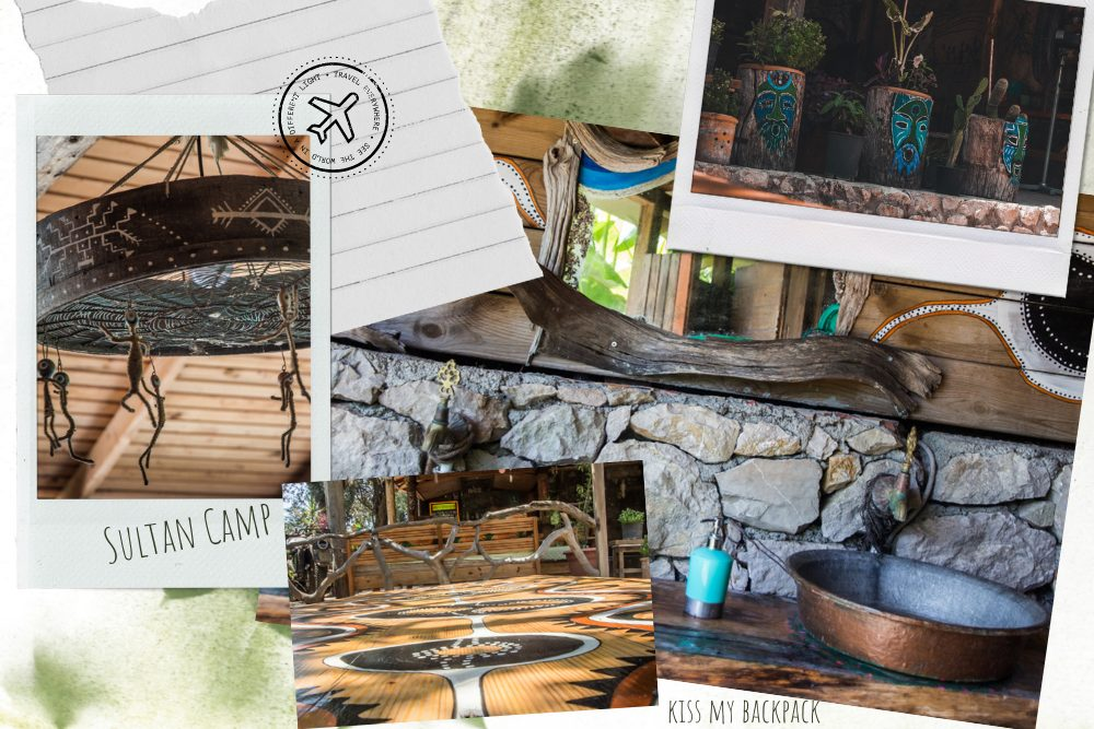 A photo collage of Sultan Camp decoration, tables, sinks and drawings