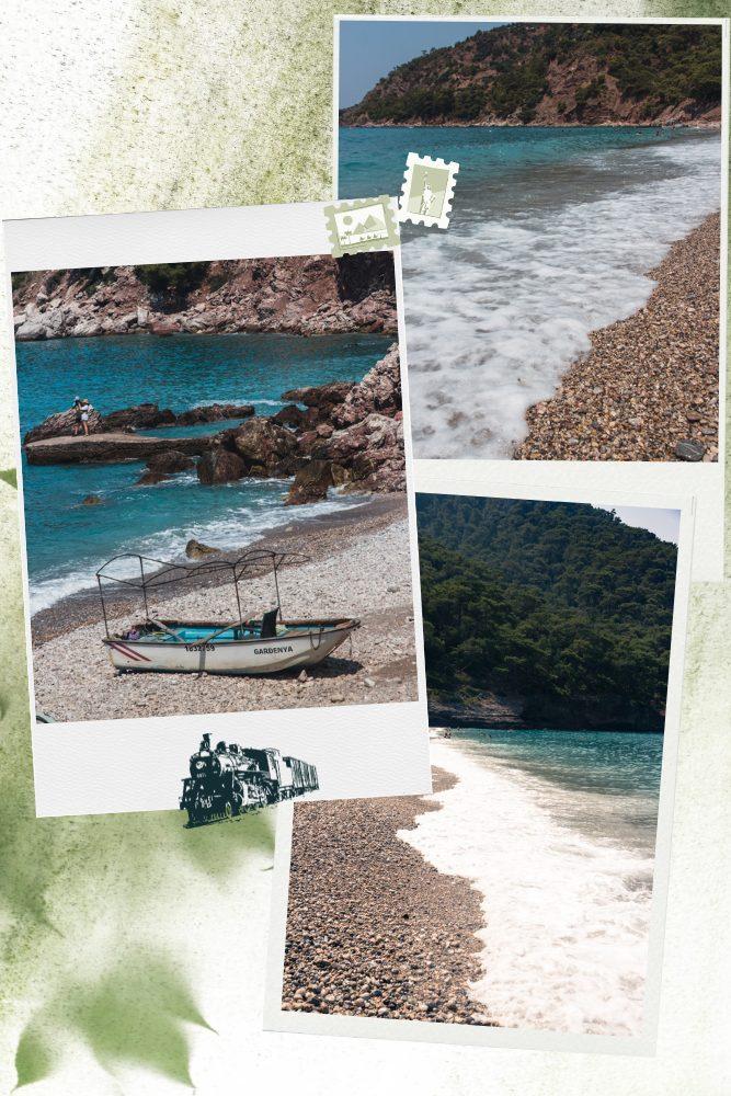 Kabak Koyu beach photo collage, waves and boats