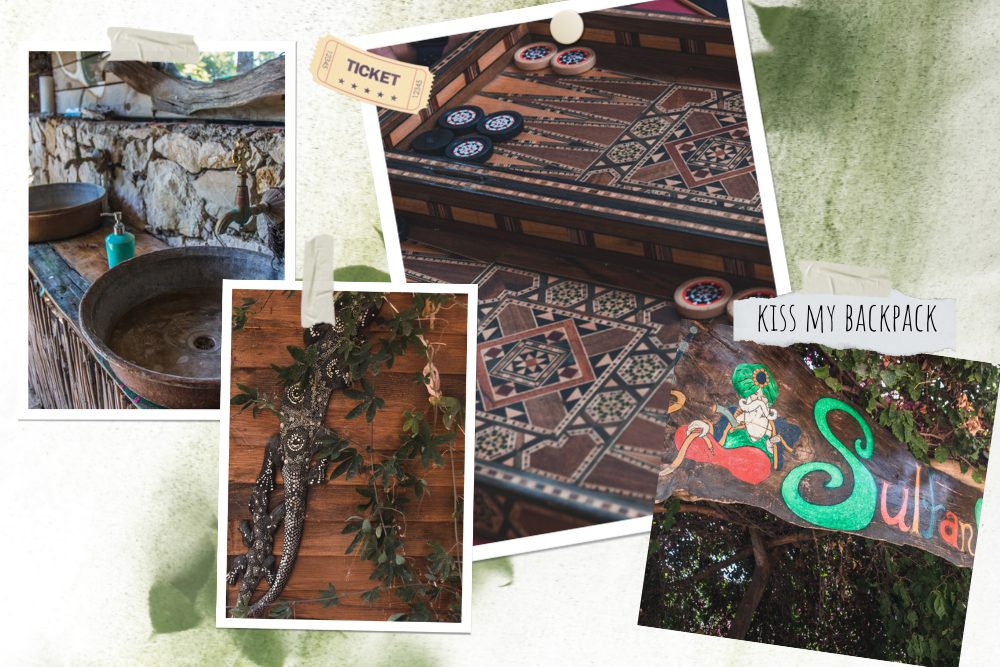 A photo collage of Sultan Camp decoration and small details, drawings and carvings